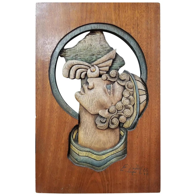 Edison Lufaac Figurative Carved Wood Wall Art / Sculpture  For Sale