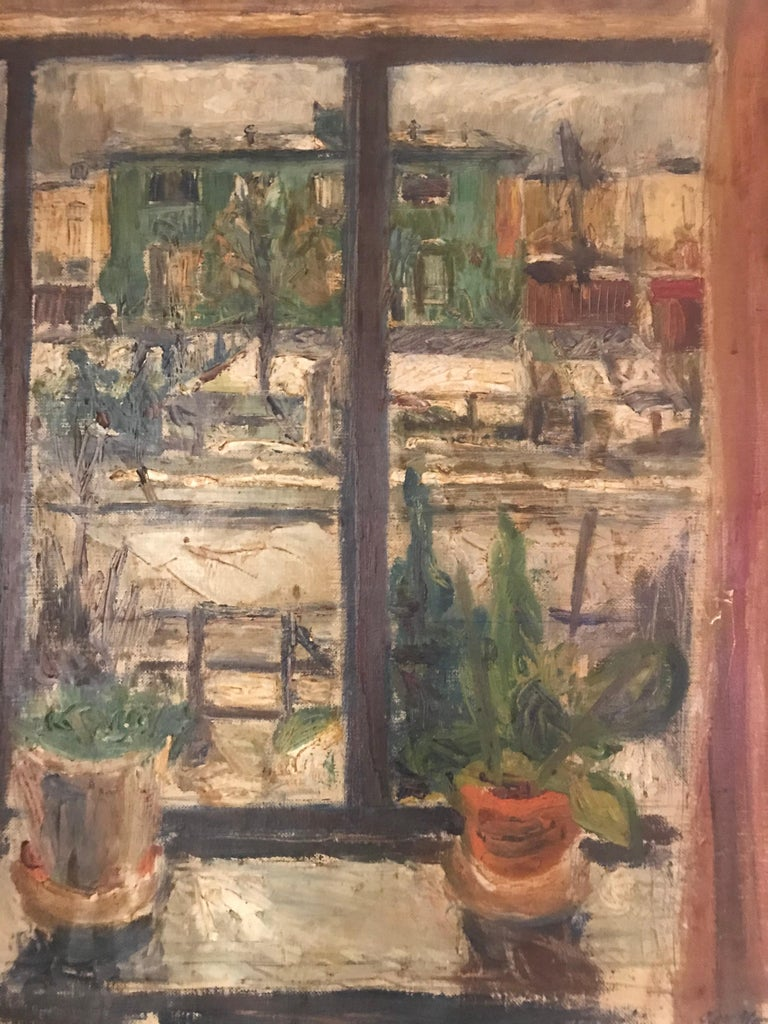 Expressionist Cityscape Window Painting by Olav Mathiesen, 1944 For Sale 5