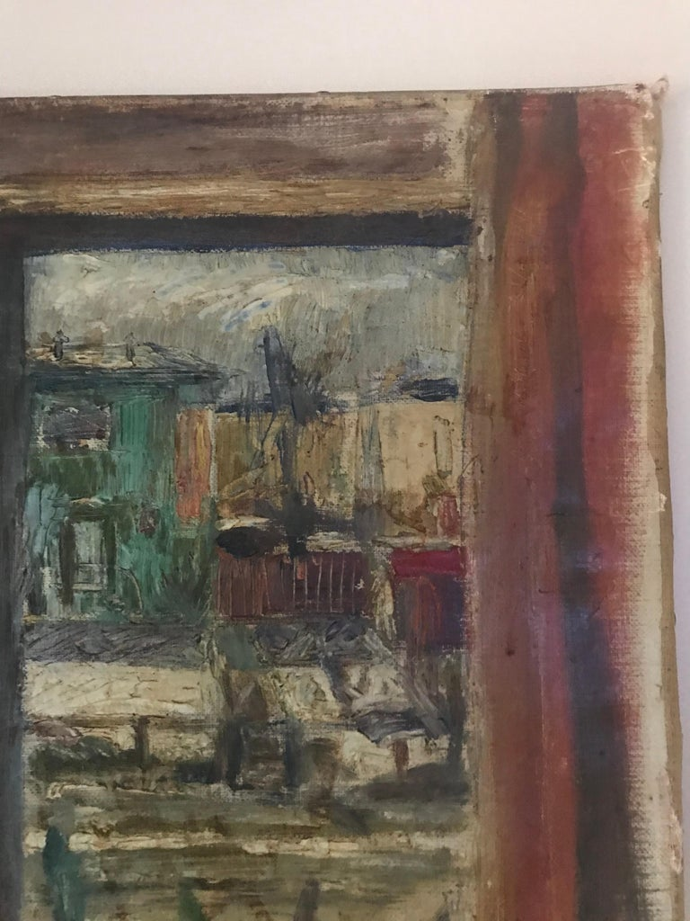 Expressionist Cityscape Window Painting by Olav Mathiesen, 1944 For Sale 7