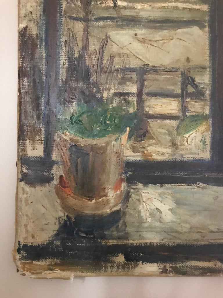 Expressionist Cityscape Window Painting by Olav Mathiesen, 1944 For Sale 8