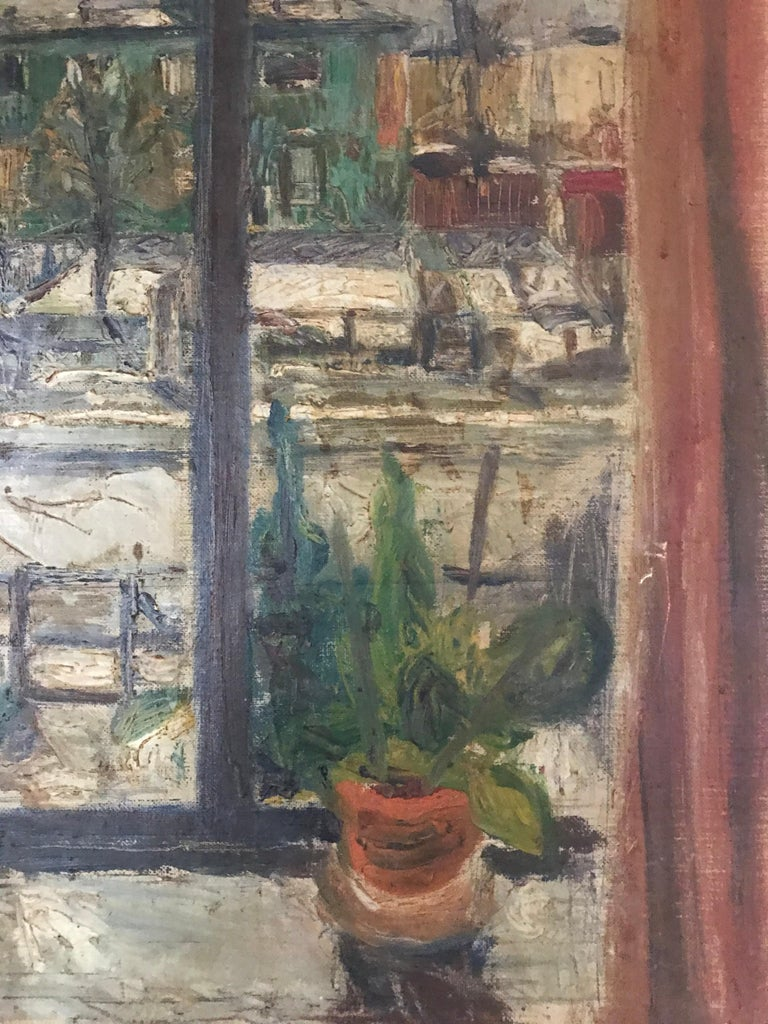 Expressionist Cityscape Window Painting by Olav Mathiesen, 1944 For Sale 10