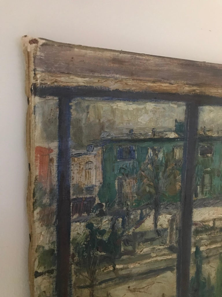 Expressionist Cityscape Window Painting by Olav Mathiesen, 1944 In Fair Condition For Sale In St.Petersburg, FL
