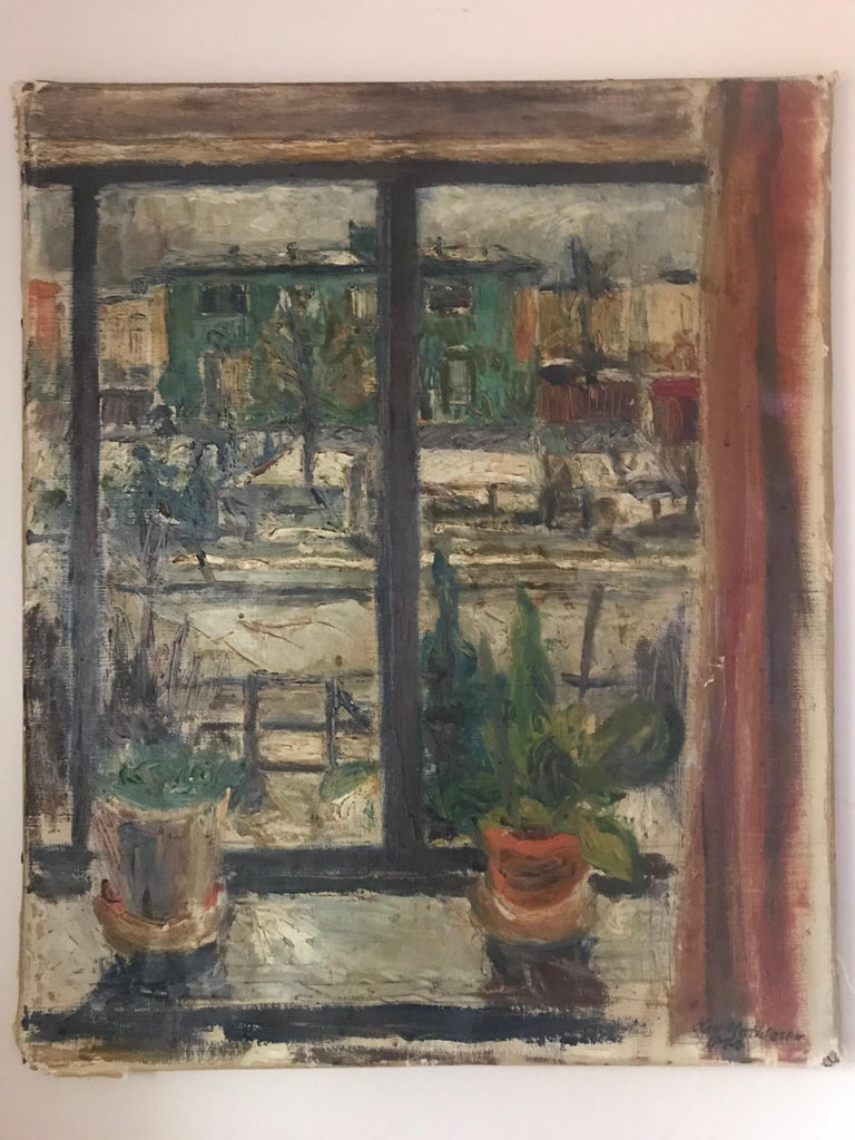 Expressionist Cityscape Window Painting by Olav Mathiesen, 1944 For Sale 1