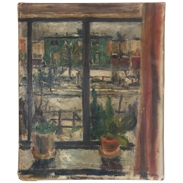 Expressionist Cityscape Window Painting by Olav Mathiesen, 1944 For Sale