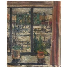 Expressionist Cityscape Window Painting by Olav Mathiesen, 1944