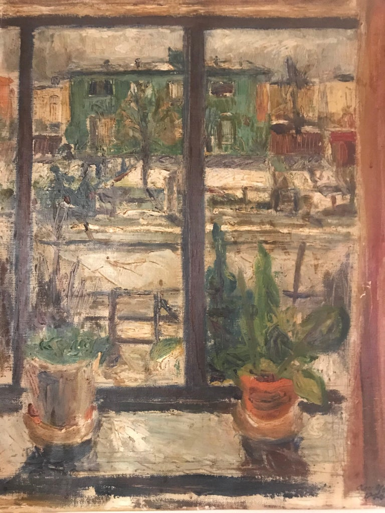 Excellent cityscape window painting by Danish American listed artist. Olav Mathiesen. Signed, 1944. Holes along canvas stretcher corners. Small abrasion/indentation on painting - see pictures. Would look excellent in a new frame. His execution is