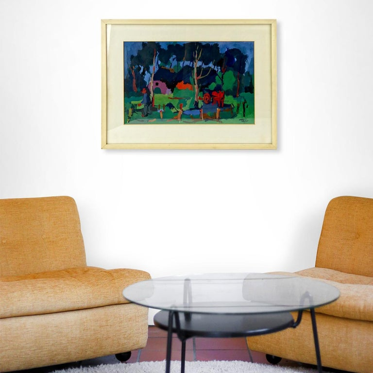 Expressionist Oil Painting of a Farmers Yard in Fauvist Style by Henri Titselaar For Sale 1