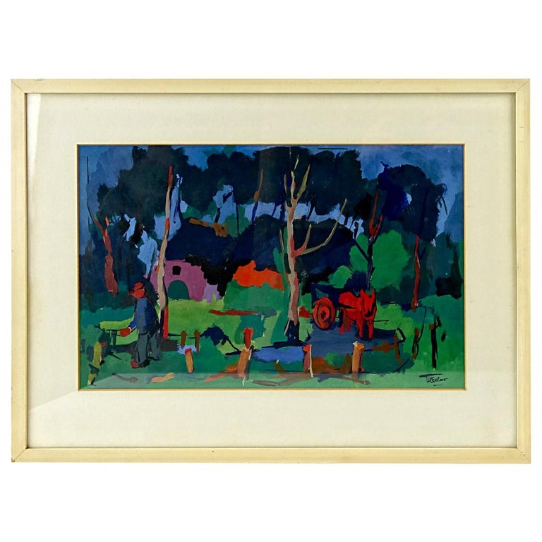Expressionist Oil Painting of a Farmers Yard in Fauvist Style by Henri Titselaar For Sale