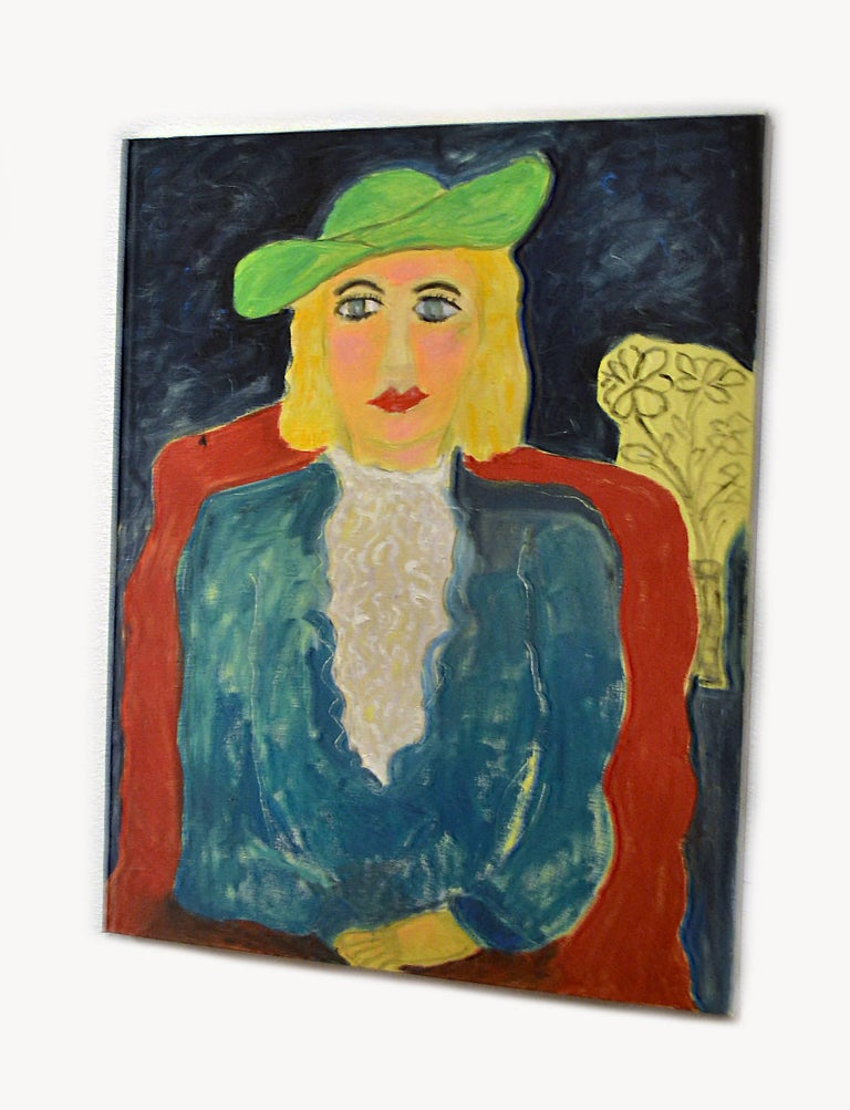 This exceptional painting titled Expressionist Portrait of Woman Wearing Green Hat is by highly listed and respected self-taught artist JoAnne Fleming (b. 1930). The artist's characteristic style exudes a Primitive quality to each and every work of