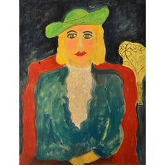 Expressionist Portrait of Lady with Green Hat by Artist JoAnne Fleming