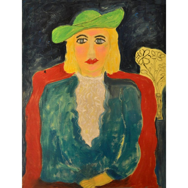 Expressionist Portrait of Lady with Green Hat by Artist JoAnne Fleming For Sale