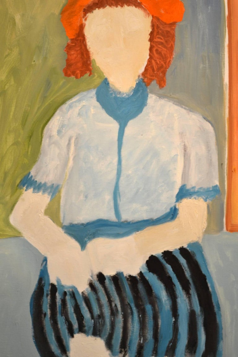 This exceptional painting titled Expressionist Portrait of Woman in Striped Skirt is by highly listed and respected self-taught artist JoAnne Fleming (b. 1930). The artist's characteristic style exudes a primitive quality to each and every work of