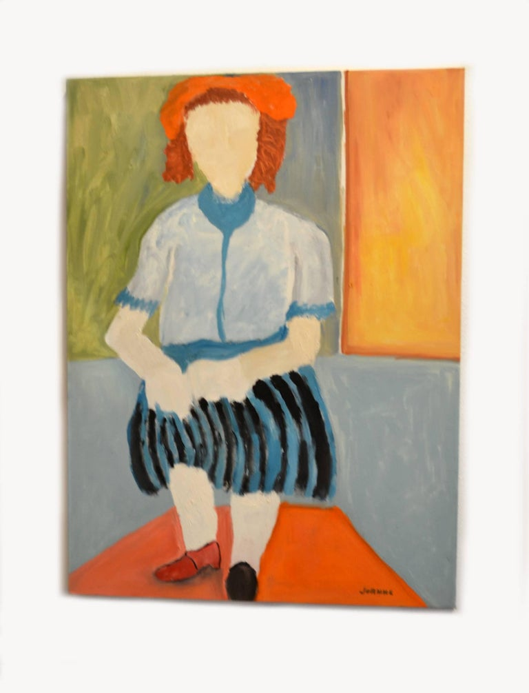 American Expressionist Portrait of Woman in Striped Skirt by JoAnne Fleming For Sale