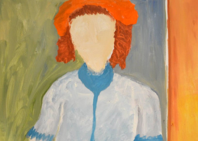 Expressionist Portrait of Woman in Striped Skirt by JoAnne Fleming In Excellent Condition For Sale In Cathedral City, CA