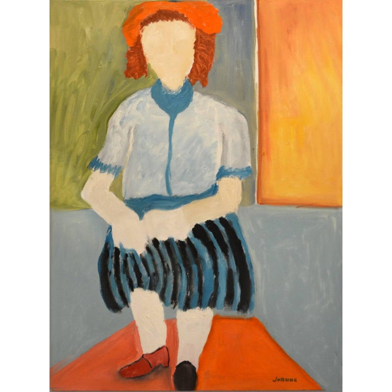 Expressionist Portrait of Woman in Striped Skirt by JoAnne Fleming For Sale