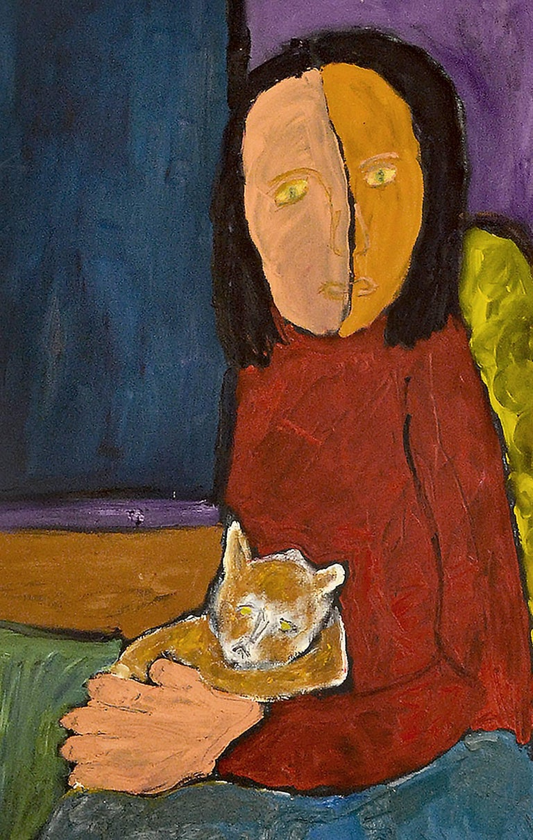 This exceptional painting titled Abstract Expressionist Portrait of Woman with Cat, artist no 714 is by highly listed and respected self-taught artist JoAnne Fleming (b. 1930). The artist's characteristic style exudes a primitive quality to each and