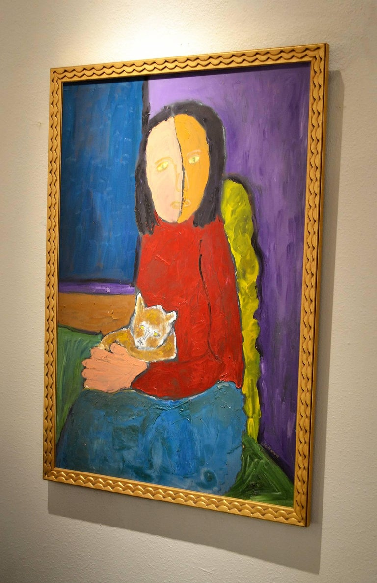 Expressionist Portrait of Woman with Cat by Artist JoAnne Fleming In Excellent Condition For Sale In Cathedral City, CA