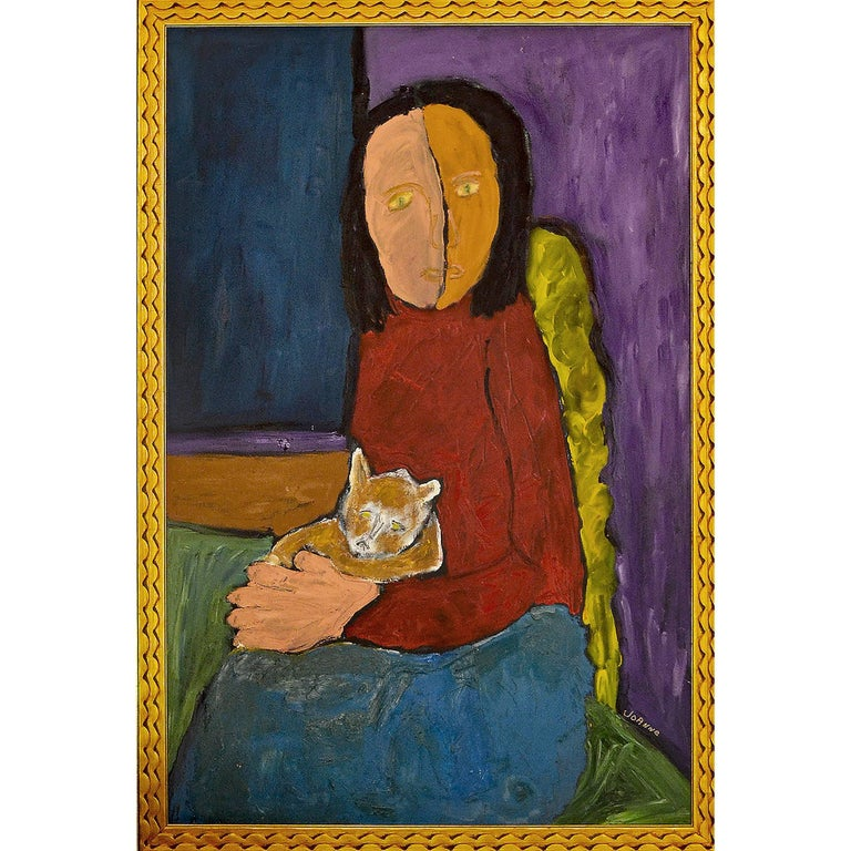 Expressionist Portrait of Woman with Cat by Artist JoAnne Fleming For Sale