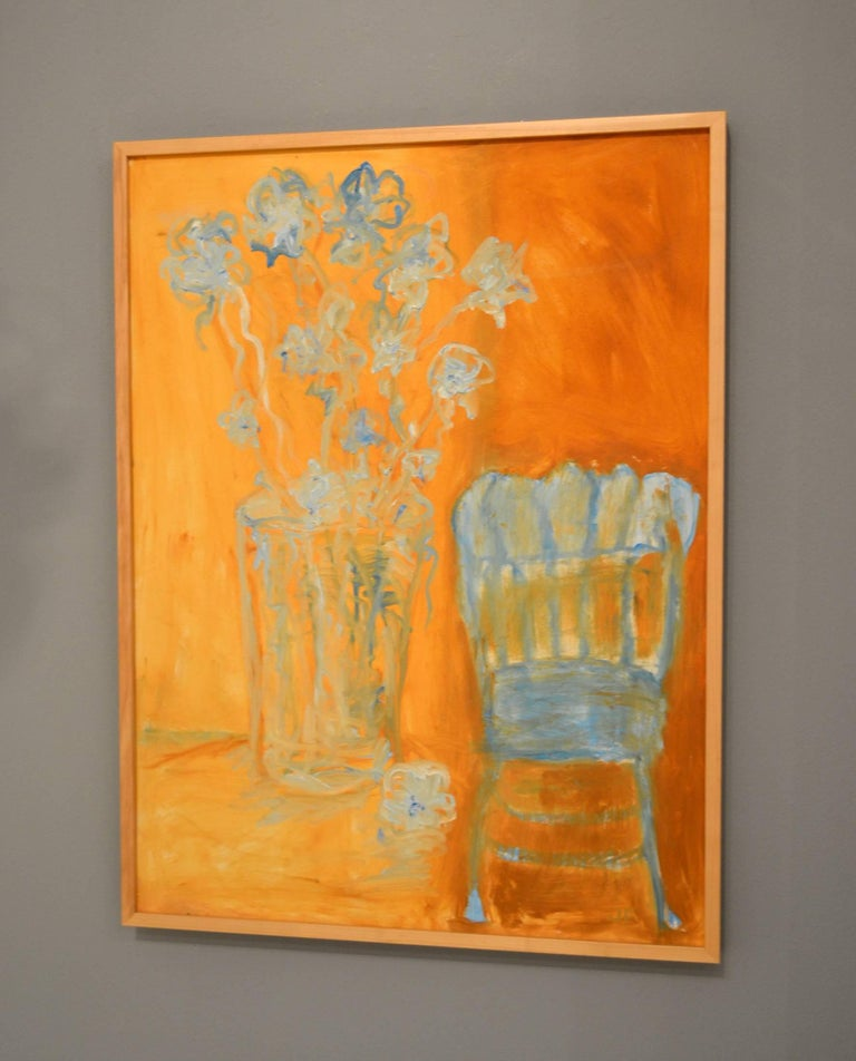 This exceptional still life painting titled Expressionist Still Life, blue flowers and blue chair is by highly listed and respected self-taught artist JoAnne Fleming (b. 1930). The artist's characteristic style exudes a Primitive quality to each and