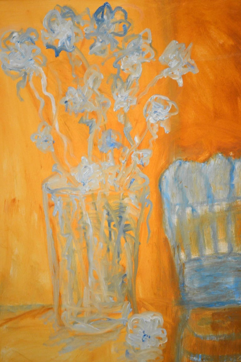 American Expressionist Still Life, Blue Flowers and Blue Chair by JoAnne Fleming For Sale