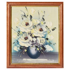 Expressionist Tactile Botanical Oil on Canvas Painting Framed