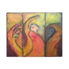Expressionist Triptych in Gouache by Bauhaus Artist Hans Kessler