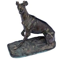Expressive Bronze Greyhound; Possibly by Emmanuel Fremiet