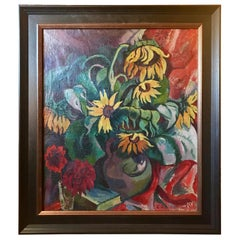 Expressive Realism Oil Painting Still Life Sunflowers, E. Gotzmann