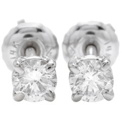 Exquisite 0.40 Carat Natural Diamond 14 Karat Solid White Gold Stud Earrings