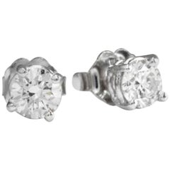 Exquisite 0.40 Carat Natural VS2-SI1 Diamond 14K Solid White Gold Stud Earrings