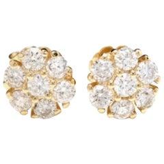Exquisite 1.00 Carat Natural VS1-VS2 Diamond 14 Karat Solid Yellow Gold Earrings