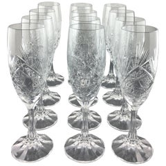 Exquisite 12 Piece Baccarat Crystal Champagne Flutes Table Service