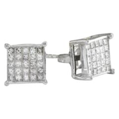 Exquisite 1.25 Carat Natural Diamond 14 Karat Solid White Gold Stud Earrings