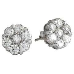 Exquisite 1.25 Carat Natural VS Diamond 14 Karat Solid White Gold Stud Earrings