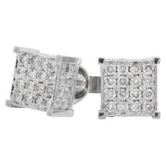 Exquisite 1.40 Carat Natural Diamond 14 Karat Solid White Gold Stud Earrings