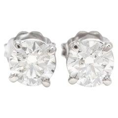 Exquisite 1.60 Carat Natural Diamond 14 Karat Solid White Gold Stud Earrings