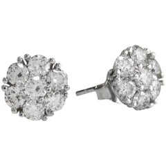 Exquisite 1.60 Carat Natural VVS Diamond 14 Karat Solid White Gold Stud Earrings