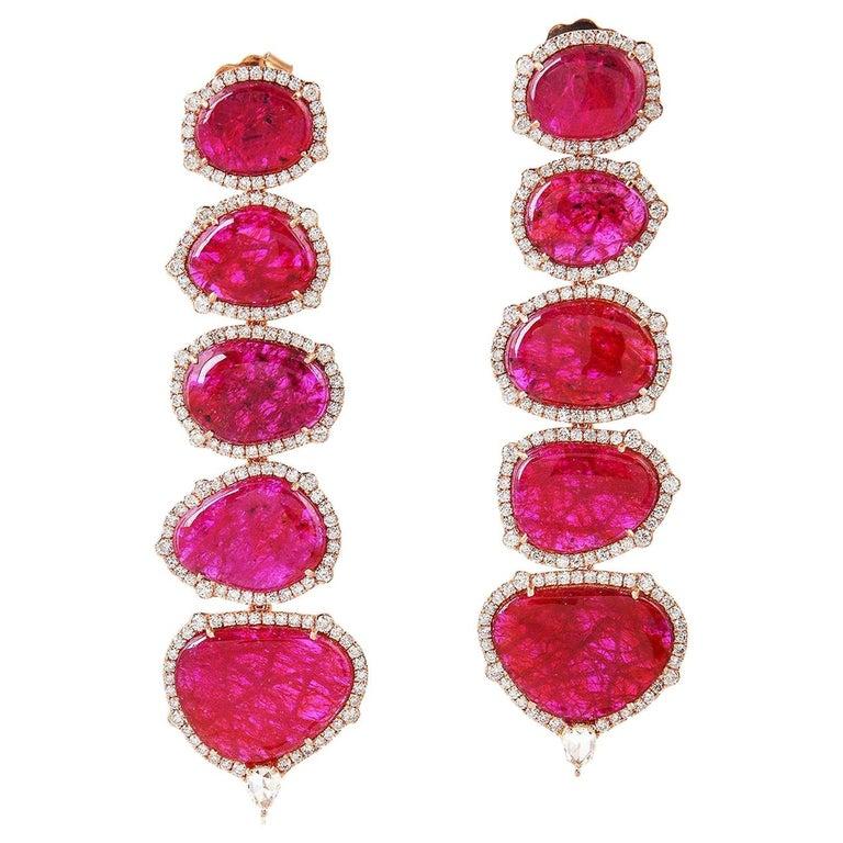 Exquisite 18 Karat Gold 29.98 Carat Ruby Diamond Earrings For Sale