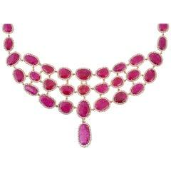 59.59 Carat Ruby Diamond 18 Karat Gold Choker Necklace
