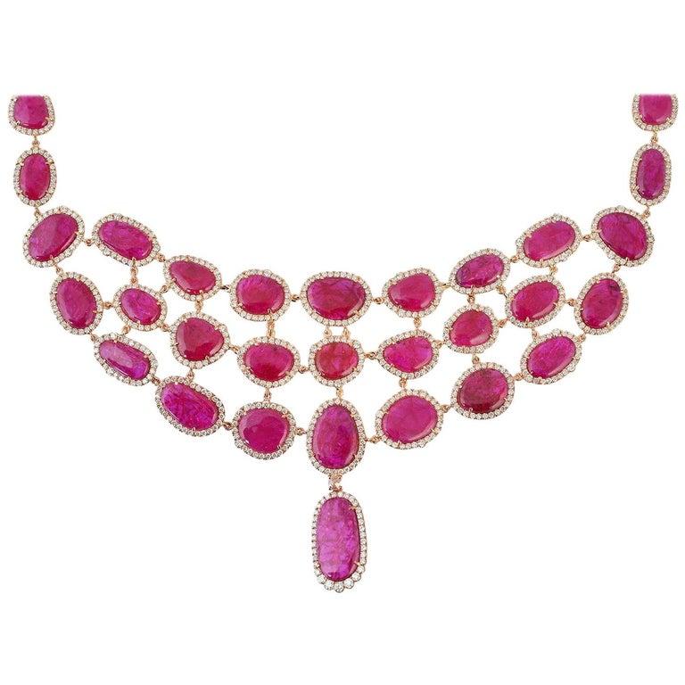 Exquisite 18 Karat Gold 59.59 Carat Ruby Diamond Choker Necklace For Sale