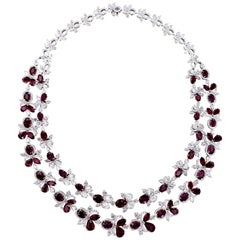 Exquisite 18 Karat White Gold, Diamonds and Ruby Necklace