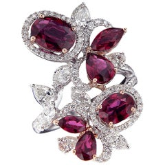 Exquisite 18 Karat White Gold, Diamonds and Ruby Ring