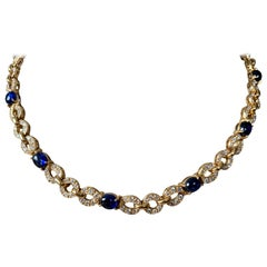 Exquisite 18 Karat Yellow Gold Cartier Sapphire Diamond Necklace/Bracelet