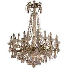 Exquisite 18 Light French Style Crystal & Brass Chandelier