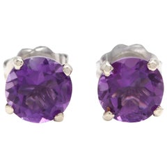 Exquisite 1.80 Carat Natural Amethyst 14K Solid White Gold Martini Stud Earring