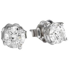 Exquisite 1.80 Carat Natural Diamond 14 Karat Solid White Gold Stud Earrings