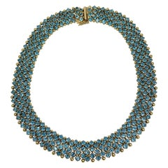 Exquisite 18k Collar Necklace with Blue Topaz