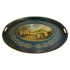 Exquisite 19th Century Decorative French Hand Painted Tole Tray
