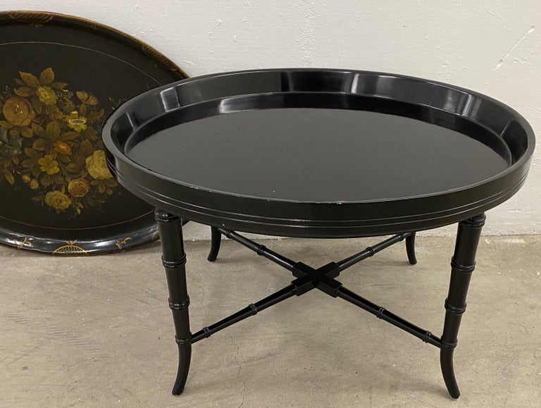 19th Century Hand Painted Papier-Mâché Tray on a 20th Century Stand For Sale 3