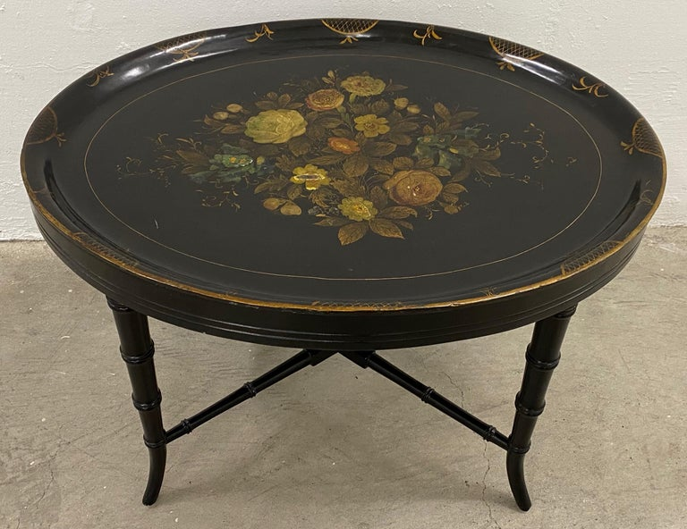 Late Victorian 19th Century Hand Painted Papier-Mâché Tray on a 20th Century Stand For Sale